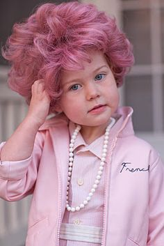 """Frenchy Halloween costume for my daughter Bentley. We hand colored the synthetic wig with markers, made her dress from a men's dress shirt, embroidered a hand-me-down pink leather jacket. (There is stitched on felt letters on the back, """"Pink Ladies""""  :)  Her favorite part of the outfit was getting to chew gum. ha. Grease Halloween Costume"""