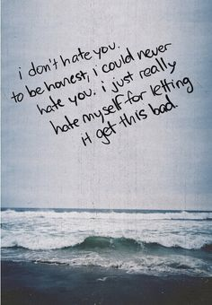 I don't hate you, to be honest, I could never hate you. I just really hate myself for letting it get this bad