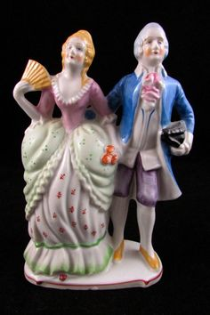 1930's Seiei & Co Japan Dresden Style Victorian Courting Couple Figurine  #Japan #porcelain #dresden #victorian #couple