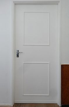 In this DIY project we'll show you how easy it is to transform plain hollow-core doors into a feature using inexpensive pine moulding. It is a simple and affordable way to add detailing to boring doors and one that you can easily do in a day. Interior Color Schemes, Interior Paint Colors, Interior Painting, Master Bedroom Interior, Living Room Interior, Master Bedrooms, Dark Interiors, Rustic Interiors, Hollow Core Doors