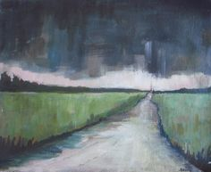 """Original Acrylic Painting - Storm Over the Rural Road - Landscape Painting - linen canvas 10""""x12"""""""