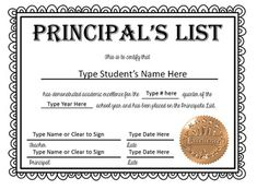 recognize students who achieve academic excellence with these principals list certificates these professional looking documents