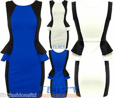 Womens Peplum Frill Dress Ladies Contrast Bodycon Skirt Sexy Party Top New 8-14