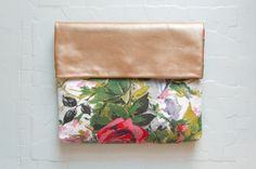 RED Rose Gold Leather Clutch. Floral Cotton Clutch. Leather Envelope Clutch. $74.00, via Etsy.