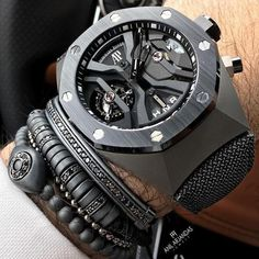 Mens cuff bracelet set 6 variation in 2019 clothing мужские Stylish Watches, Luxury Watches For Men, Cool Watches, Rolex Watches, Audemars Piguet Watches, Skeleton Watches, Fashion Couple, Patek Philippe, Beautiful Watches