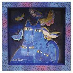 Laurel Burch 3-D Indigo Cats 8x8 Wall Art Print