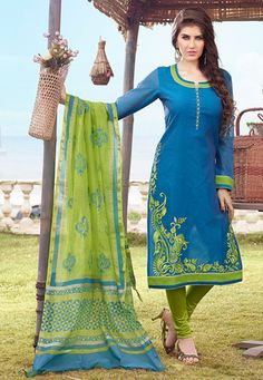 Embroidered Art Silk Straight Suit in Teal Blue