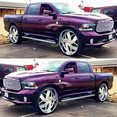 Ram 1500 now that's my style not purple the black with red and black rims lifted Purple Love, All Things Purple, Shades Of Purple, Purple Cars, Purple Stuff, My Dream Car, Dream Cars, Purple Reign, Hot Rides