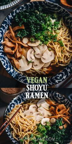 Vegan Shoyu Ramen has a rich soy-sauce-based broth accented by sesame oil and black pepper. It's easy to make and versatile with different toppings. Ramen Recipes, Asian Recipes, Vegetarian Recipes, Dinner Recipes, Healthy Recipes, Ethnic Recipes, Potluck Recipes, Chinese Recipes, Noodle Recipes
