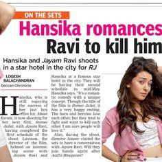 Hansika Romqnces Ravi to Kill him.. Source: DC, April25.