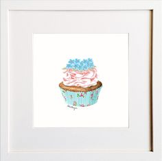 Forget-me-not Cupcake Print Irish Design, Forget Me Not, Framed Prints, Art Prints, Pigment Ink, Colour Schemes, Watercolor Paper, All The Colors, Cupcake