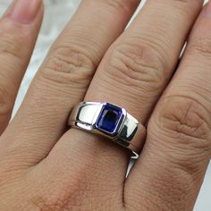 size 12 Men's 925 Silver Filled Oblong Blue Sapphire Wedding Ring