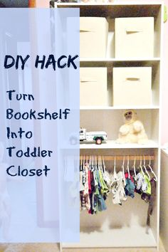 DIY hack: How to turn a cheap thrifty bookshelf into a kid's or toddler closet. DIY step by step tutorial. Frugal idea for kid's room nursery organizing