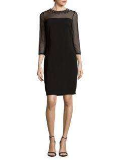Carmen Marc Valvo Infusion - Solid Three-Quarter Sleeve Dress