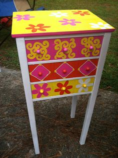 Whimsical Funky hand painted wood  table storage by TheRummageRack, $119.99