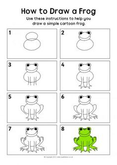How to draw a frog instruction sheet - SparkleBox Frog Drawing, Drawing For Kids, Art For Kids, Drawing Lessons, Art Lessons, You Draw, Learn To Draw, Draw Tutorial, Frogs For Kids