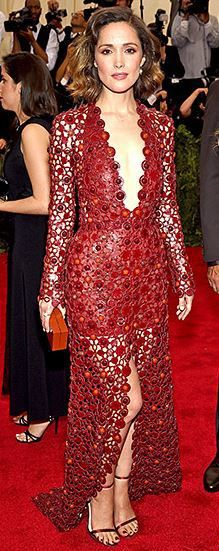 Rose Byrne--front view //  in a red lasercut deep-v Calvin Klein Collection dress at the 2015 Met Gala. 01.
