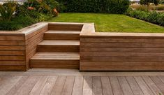 This could work with raised planter boxes extending back along the fence on the left. Build in a bench on the right side of the stairs or keep the retaining wall low enough to sit on? Sloped Backyard Landscaping, Sloped Yard, Landscaping Ideas, Backyard Ideas, Backyard Retaining Walls, Concrete Retaining Walls, Building A Retaining Wall, Poured Concrete, Back Garden Design