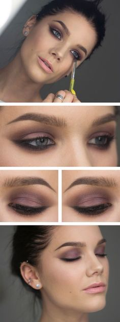 Love this purple smoky eye makeup.