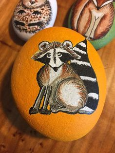 Forest Animal Raccoon - Hand Painted Rock - whimsical art gift