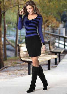 Stripe sweater dress in the VENUS Line of Dresses for Women