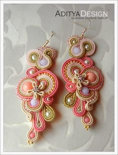 soutache earrings, ooak jewelry, AdityaDesign, Bahira 101 model