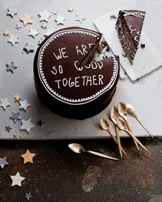 we are so good together chocolate cake. this would be good for an anniversary. Pretty Cakes, Beautiful Cakes, Cake Cookies, Cupcake Cakes, Cake Pops, Festa Party, Be My Valentine, Valentine Cake, Let Them Eat Cake