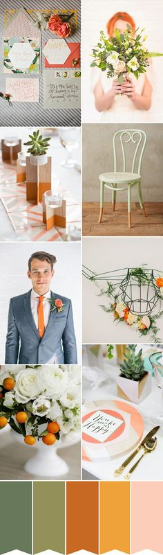 Modern Green and Tangerine Wedding Inspiration | find out how to create this look on www.onefabday.com
