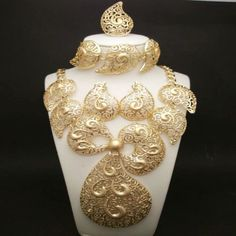 Costume Bridal African Gold Jewelry Set