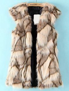 Apricot Sleeveless Geometric Pattern Faux Fur Vest US$60.00