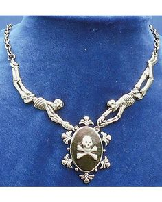 Skull & Crossbones Pirate Cameo Necklace with Skeletons