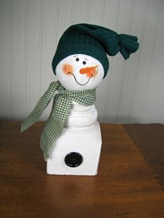 Reclaimed+Wood+Porch+Post+Snowman+with+Sock+Hat+by+TheCountryTouch,+$15.00
