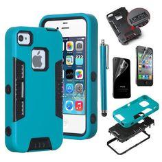Pandamimi ULAK 3 in 1 Tough Armor Case for Apple iPhone 4 4S With High Impact Hybrid Durable Soft Silicone Skin (Aqua Blue+Black) ULAK http://www.amazon.com/dp/B00JR4A550/ref=cm_sw_r_pi_dp_Schhub177NKZC   3-1   $5