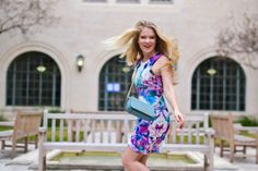 Love this flower printed dress from Keepsake and my new favorite bag from Tory Burch! #spring #fashion #flower #prints #toryburch