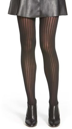 WOLFORD PINSTRIPE OPAQUE TIGHTS -  WOLFORD PINSTRIPE OPAQUE TIGHTS Velvety pinstripes add eye-catching dimension to soft opaque tights.