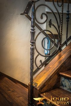 Wrought Iron Porch Railings, Iron Stair Railing, Staircase Railing Design, Rustic Home Design, Blacksmithing, Metal Working, Stairs, House Design, Basements
