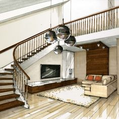 Sweeping Staircase. Interior Design with Mixed Media Drawings. By Julia Smolkina.