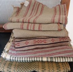 7 pc remnants woven textiles Family Heirloom weavers by RaggedyRee, $15.00