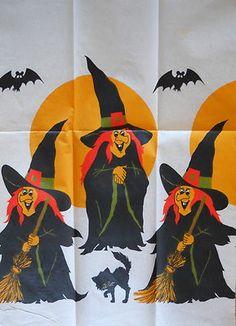 Vintage Halloween Ephemera ~ Witch, Bat and Black Cat Tablecloth
