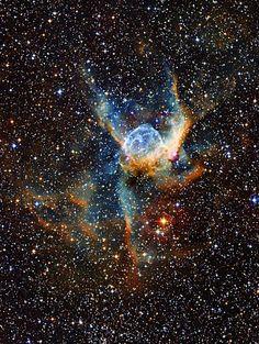 Helmet Nebula                                                                                                                                                                                                                                         Name:NGC 2359 Type:• Milky Way : Star : Type : Wolf-Rayet • Milky Way : Nebula : Type : Star Formation • X - Nebulae Distance:15000 light years Constellation:Canis Major Credit: ESO