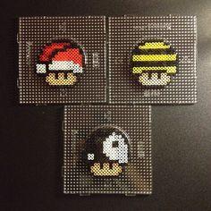Nintendo mushrooms perler beads by sajagee/ xmas tree for the boys?