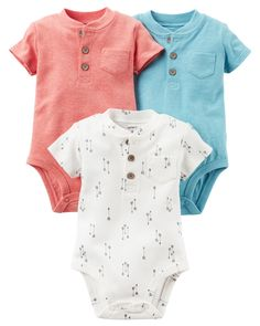 The perfect starters to any outfit, his classic bodysuits get a modern update with button plackets and pockets.