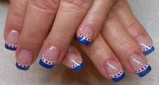 Patriotic 4th of July Nails - Acrylics with gel polish art, I think i'd do a red stripe then white with blue doted on the white tip