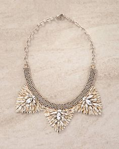Deepa Gurnani Zelina Crystal Triangle Bib Necklace | Express