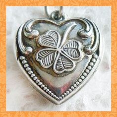 Vintage 1940's GOOD LUCK CLOVER PUFFY HEART ~ ENGRAVED DODIE sterling charm