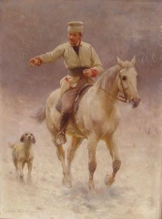 Jeździec na koniu z psem w zimie