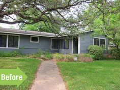 Before & After: A Mid Century Makeover Done Right Home Exterior Makeover, Garden Makeover, Ranch Style Homes, Front Yard Landscaping, Houseplants, Mid Century, Backyard, Landscape, Outdoor Decor
