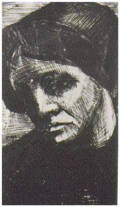 Vincent van Gogh Drawing, Pen, washed Drente: October, 1883 Kröller-Müller Museum Otterlo, The Netherlands, Europe F: 1073, JH: 404 Image Only - Van Gogh: Woman's Head