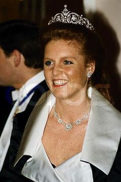 Sarah, Duchess of York.  She designed this tiara for her wedding in 1986 to Prince Andrew, Duke of York.  Queen Elizabeth purchased it for her.  Sarah and Andrew were divorced in 1996.