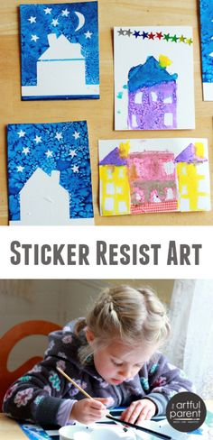 Sticker Resist Art Project for Kids - Houses, cities, trees, cars